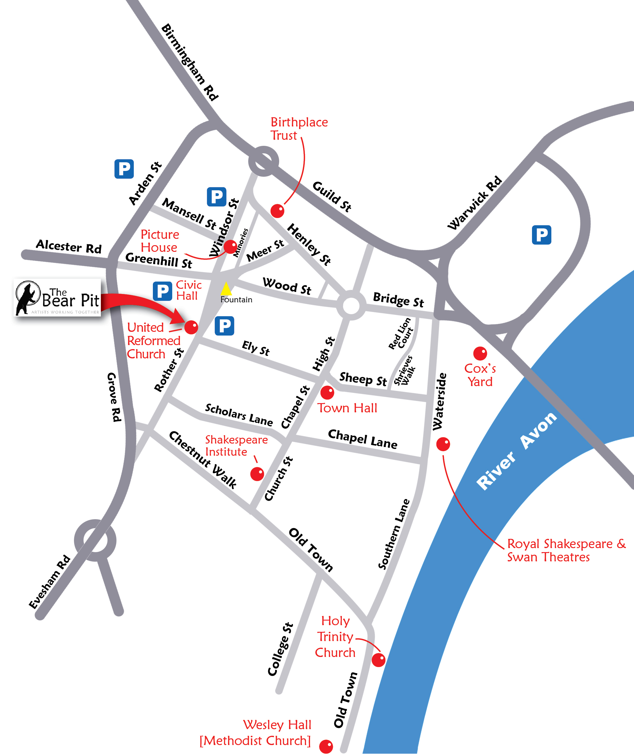 Stratford England Map.Your Visit The Bear Pit