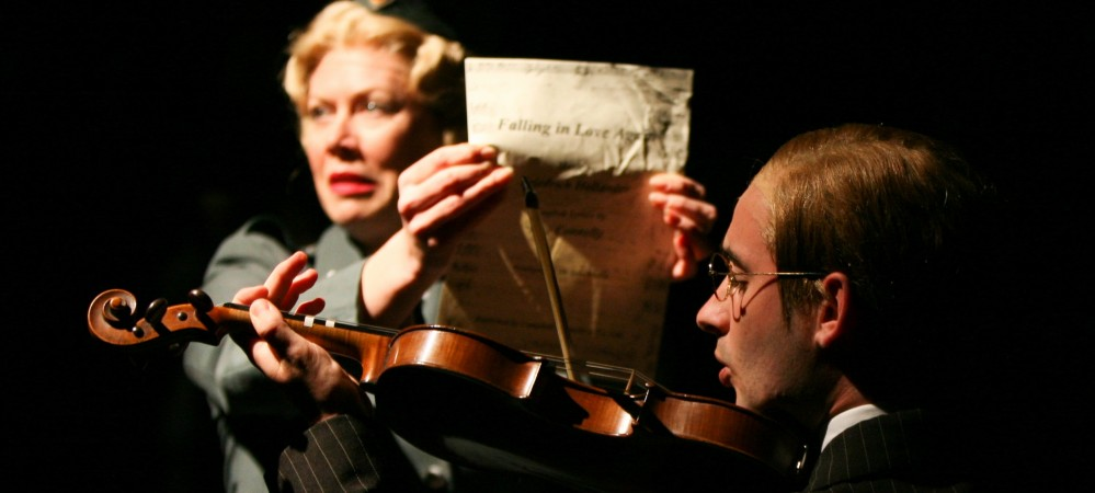 Ruth Linnett as Helga and Dominic Skinner as Herr Otto Flick